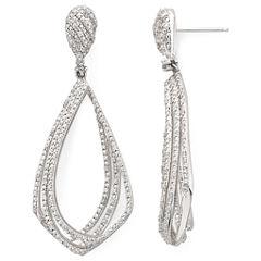 Diamond Addiction 1/10 CT. T.W. Sterling Silver/Brass Diamond Drop Earrings