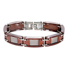 Men's Mesh Stainless Steel & Brown Ceramic Bracelet