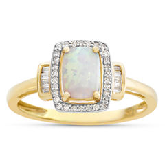 Womens Lab Created Multi Color Opal 10K Gold Cocktail Ring