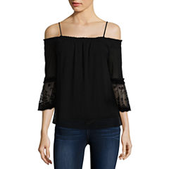by&by Long Sleeve Boat Neck Lace Blouse-Juniors