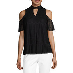 by&by Short Sleeve High Neck Lace Blouse-Juniors