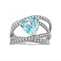 Blue Topaz Crossover Ring Sterling Silver