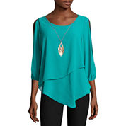 by&by Split-Elbow-Sleeve Pointed-Hem Knit-to-Woven Top with Necklace - Juniors
