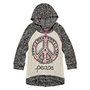 Knit Works® 3/4-Sleeve Hooded Graphic Top with Necklace - Girls Plus