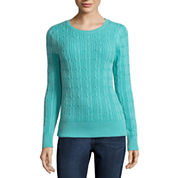 St. John's Bay® Long-Sleeve Essential Cable-Knit Sweater