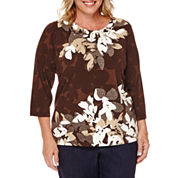Alfred Dunner® 3/4-Sleeve Floral Novelty Check Tee - Plus