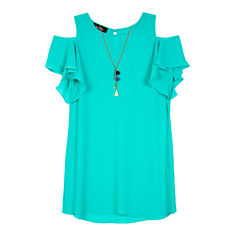 by&by girl Short Sleeve Cold Shoulder Sleeve Shift Dress - Big Kid Girls