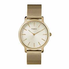 Timex Metropolitan Skyline Womens Gold Tone Bracelet Watch-Tw2r36100jt