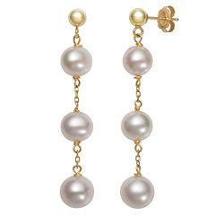 White Pearl 10K Gold Drop Earrings