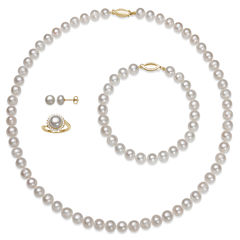 Womens 4-pc. White Pearl 14K Gold Over Silver Jewelry Set
