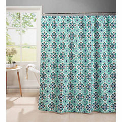 Olive Shower Curtain With Metal Roller Hooks