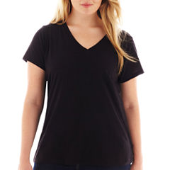 Arizona Short-Sleeve Solid V-Neck Tee - Plus