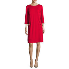 Liz Claiborne® 3/4-Sleeve Shift Dress with Gold Buttons