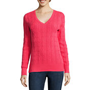 St. John's Bay® Long-Sleeve Cable-Knit Sweater