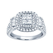 1½ CT. T.W. Princess & Round Diamond 14K White Gold Engagement Ring