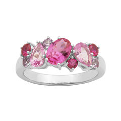 Simulated Amethyst, Pink Sapphire and Ruby Sterling Silver Cluster Ring