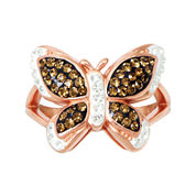 14K Rose Gold Over Sterling Silver Crystal-Accent Butterfly Ring