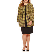 Isabella Long-Sleeve Houndstooth Skirt Suit Set - Plus