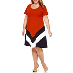 Robbie Bee® Short-Sleeve Chevron Textured Fit-and-Flare Dress - Plus