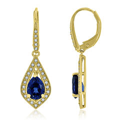 Blue Sapphire 14K Gold Over Silver Drop Earrings