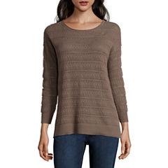 St. John's Bay Long Sleeve Pullover Sweater-Petites
