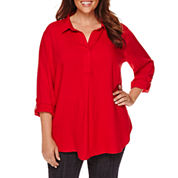 Liz Claiborne® Long-Sleeve Roll-Tab Blouse - Plus
