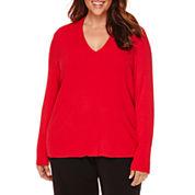 Liz Claiborne® Long-Sleeve V-Neck Ribbed Sweater - Plus