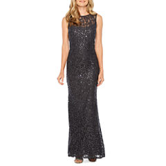 Blu Sage Sleeveless Sparkle Lace Gown