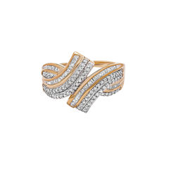 Womens 1/2 CT. T.W. Genuine White Diamond 10K Gold