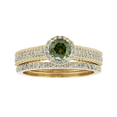 1 CT. T.W. Certified White and Color-Enhanced Green Diamond Bridal Ring Set