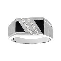 Mens 1/7 CT. T.W. Diamond and Inlaid Genuine Onyx 10K White Gold Ring