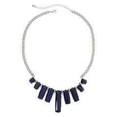 Mixit™ Blue Rectangular Stones Statement Necklace
