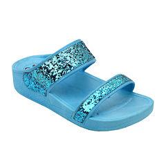 OMGirl Amberlee Girls Double-Strap Glitter Molded Sandals - Little Kids