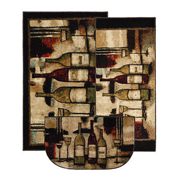 Mohawk Home New Wave Wine And Glasses Printed Rectangular 3 pc Rug Set