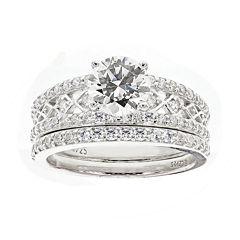 DiamonArt® Cubic Zirconia Sterling Silver Bridal Set