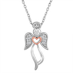 Womens Diamond Accent White Diamond Sterling Silver Gold Over Silver Pendant Necklace