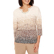 Alfred Dunner® 3/4-Sleeve Pebble Print Top