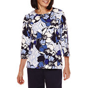 Alfred Dunner® 3/4-Sleeve Floral Print Top