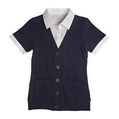 French Toast® Short-Sleeve Layered Cardigan  - Girls 7-20