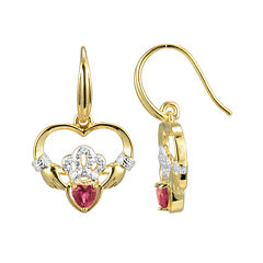 Heart-Shaped Lab-Created Ruby and Diamond-Accent Claddagh Earrings