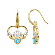 Heart-Shaped Genuine Blue Topaz and Diamond-Accent Claddagh Earrings