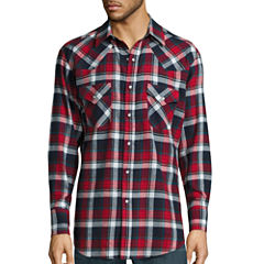 Ely Cattleman® Long-Sleeve Flannel Snap-Front Western Shirt Big and Tall