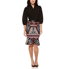 Bisou Bisou® Long-Sleeve Twist-Front Bodysuit or Flounce Pencil Skirt