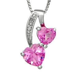 Lab-Created Pink Sapphire and Diamond-Accent Sterling Silver Double-Heart Pendant Necklace
