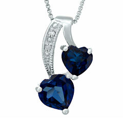 Lab-Created Sapphire and Diamond-Accent Sterling Silver Double-Heart Pendant Necklace