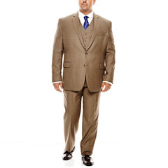 Stafford® Travel Brown Sharkskin Suit Separates - Portly Fit