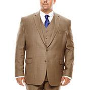 Stafford® Travel Brown Sharkskin Suit Jacket - Portly Fit