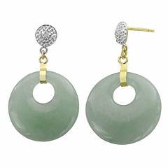 Genuine Jade & Diamond-Accent 14K Yellow Gold Drop Earrings