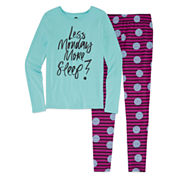 Total Girl 2-pc. Less Monday More Sleep Tight-Fit Leggings Set - Girls