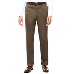 Stafford® Travel Brown Sharkskin Flat-Front Pants-Classic Fit
